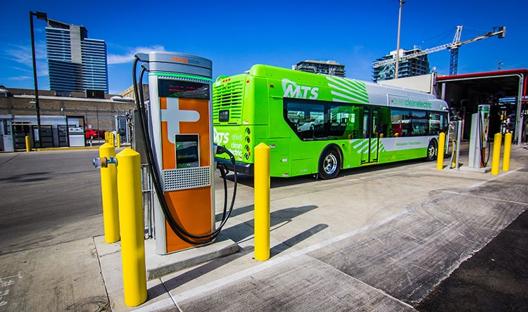 electric bus with charger