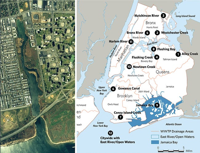 Fresh Creek water body and New York City Department of Environmental Protection Long-Term Control Plan Areas | Integrating Models  Into Water Quality Solutions