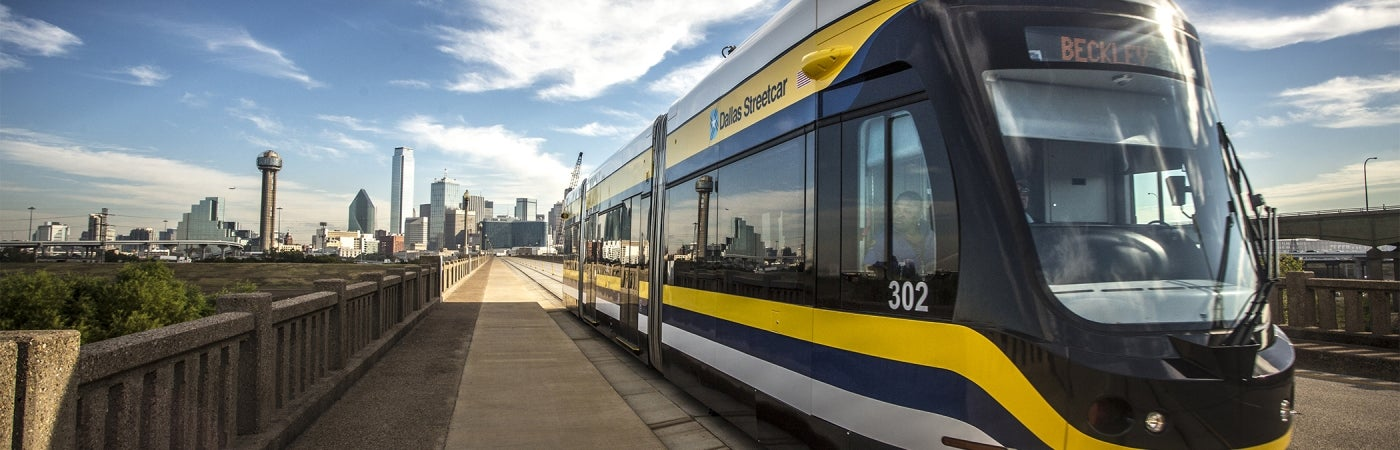 Dallas Streetcar and Dallas skyline