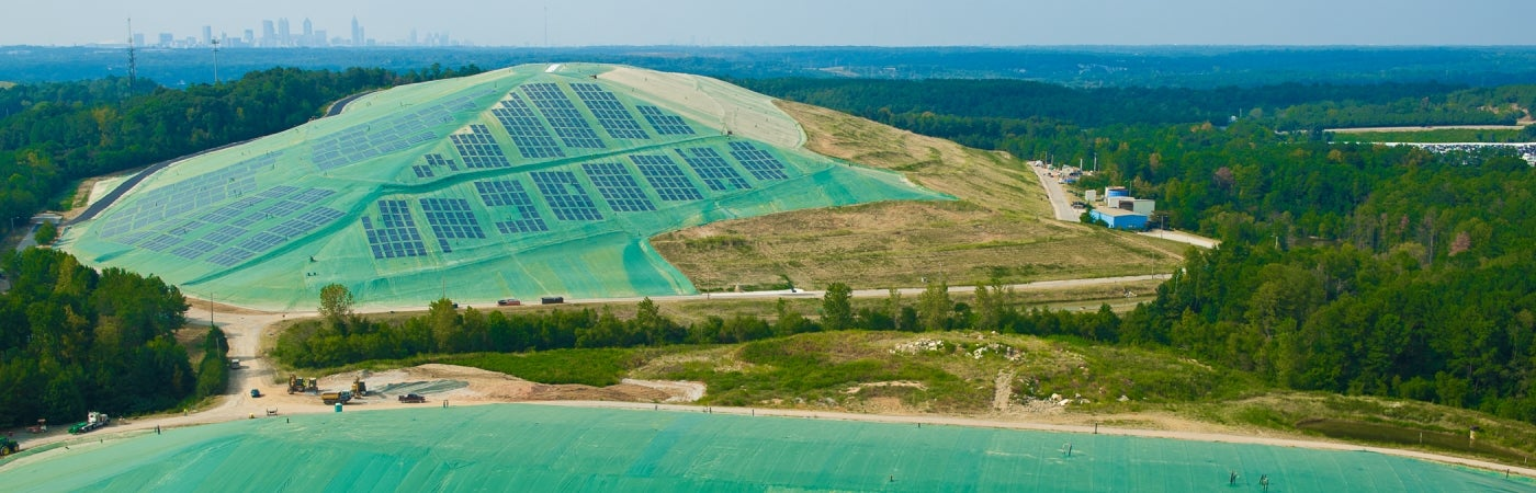aerial view of landfill solar energy cover