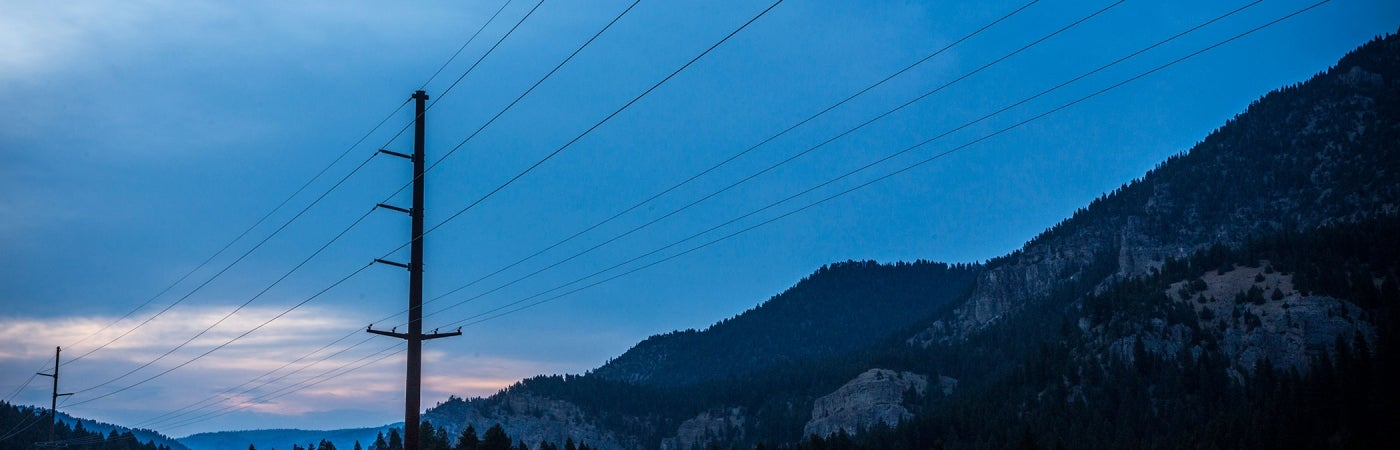 161 kV Transmission Line against Dusk Sky