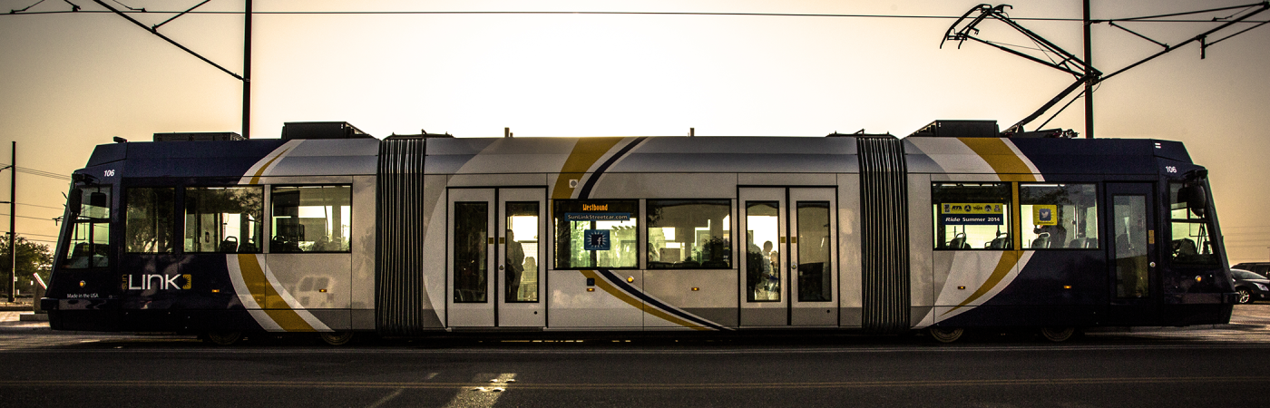Tucson Sun Link Streetcar at sunset