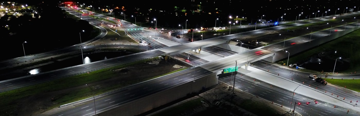 Florida I-75 Diverging Diamond Interchange aerial