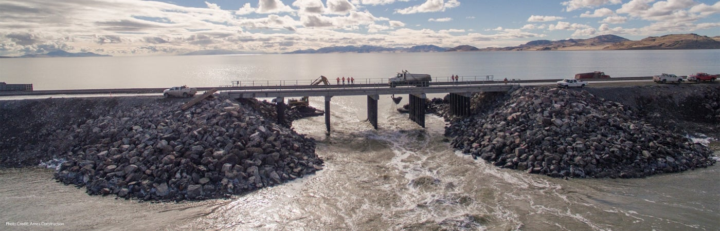 Great Salt Lake Bridge over new Breach
