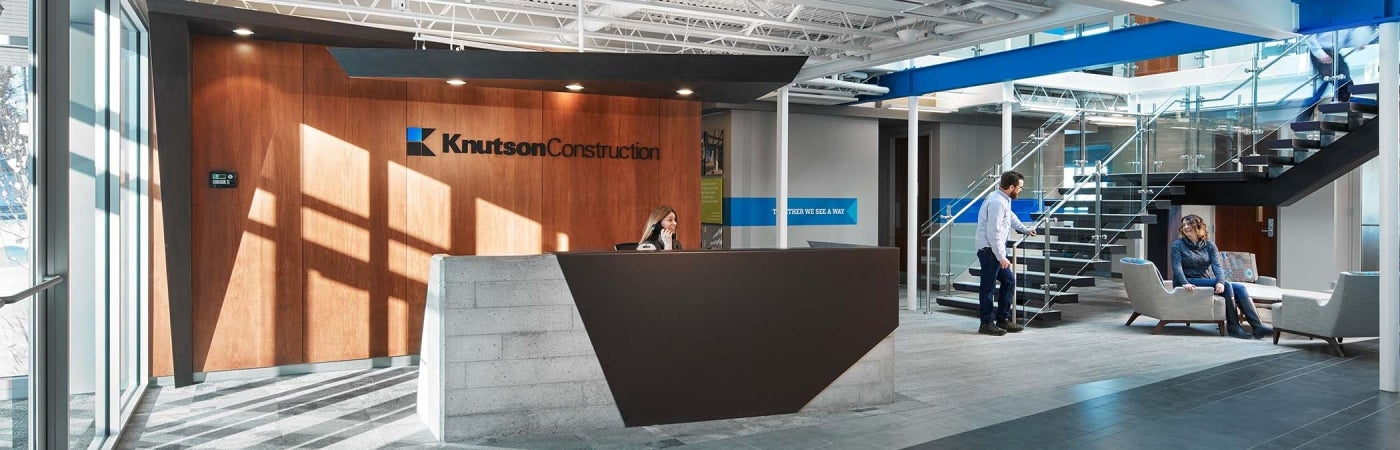 Knutson Construction Headquarters reception HDR