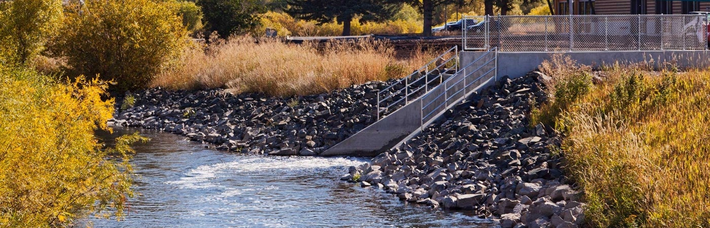 Outfall structure at Bozeman Water Reclamation Facility