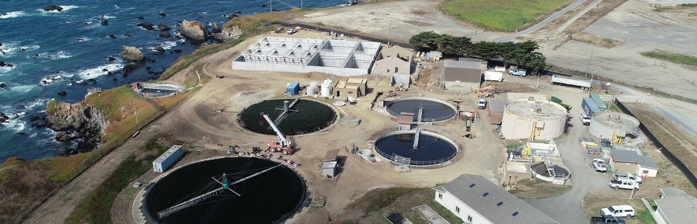 Aerial of Fort Bragg Wastewater Treatment Plant Upgrade