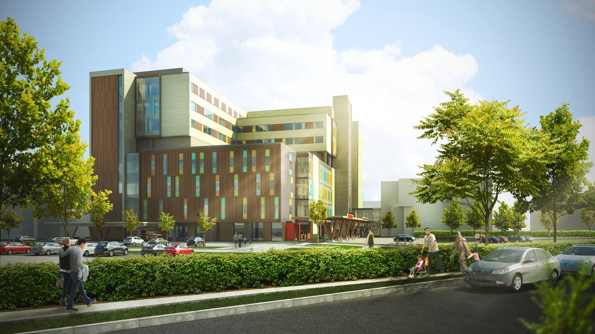 Teck Acute Care Centre BC Children's and Women's Hospital 28th Avenue Entrance Rendering