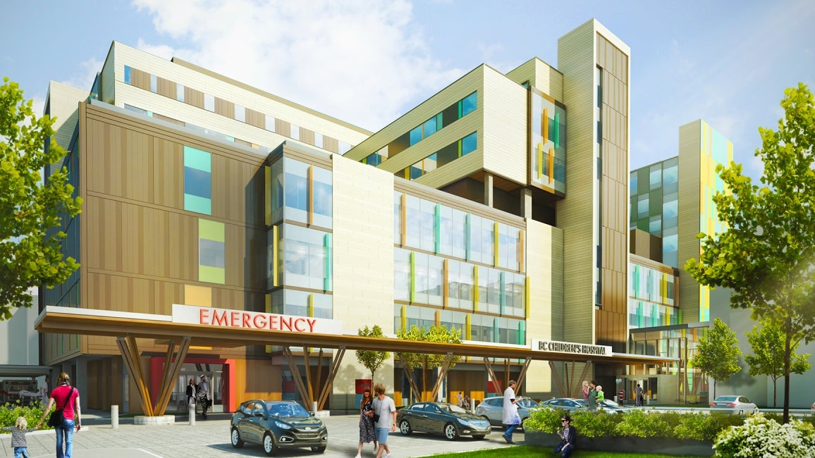 Teck Acute Care Centre BC Children's and Women's Hospital Front Entry Rendering