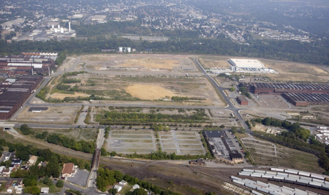 aerial of former steel plant site