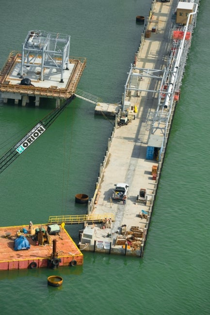 aerial view of pier construction
