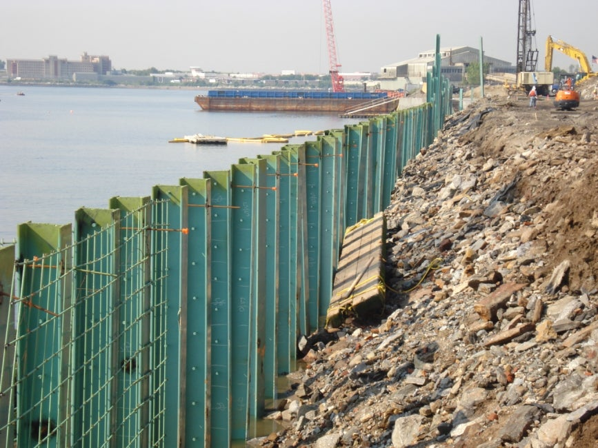 retaining wall stabilizes shoreline