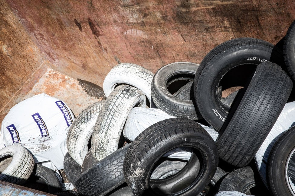 tires for disposal at transfer station