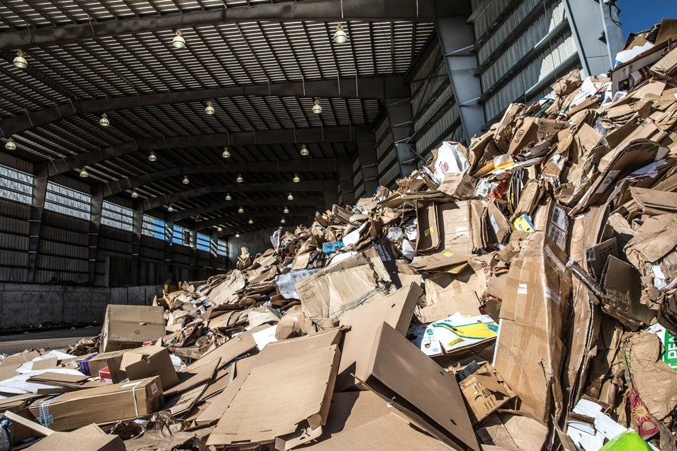 cardboard piles at transfer station