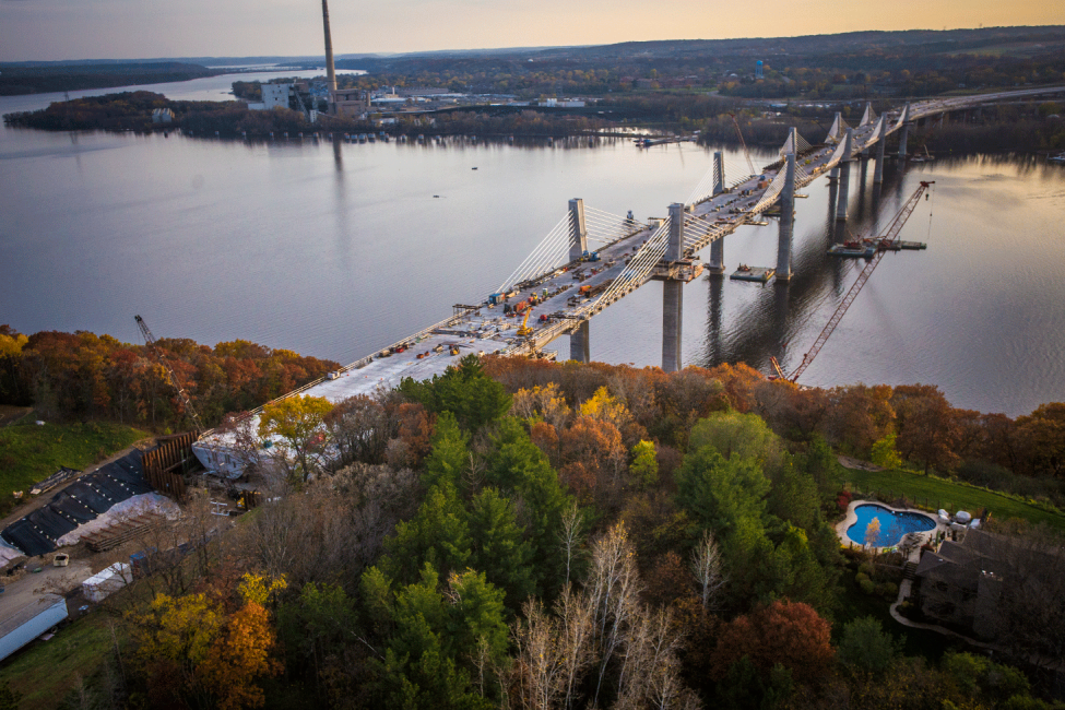 St. Croix Crossing Full Span with Foliage at Sunset