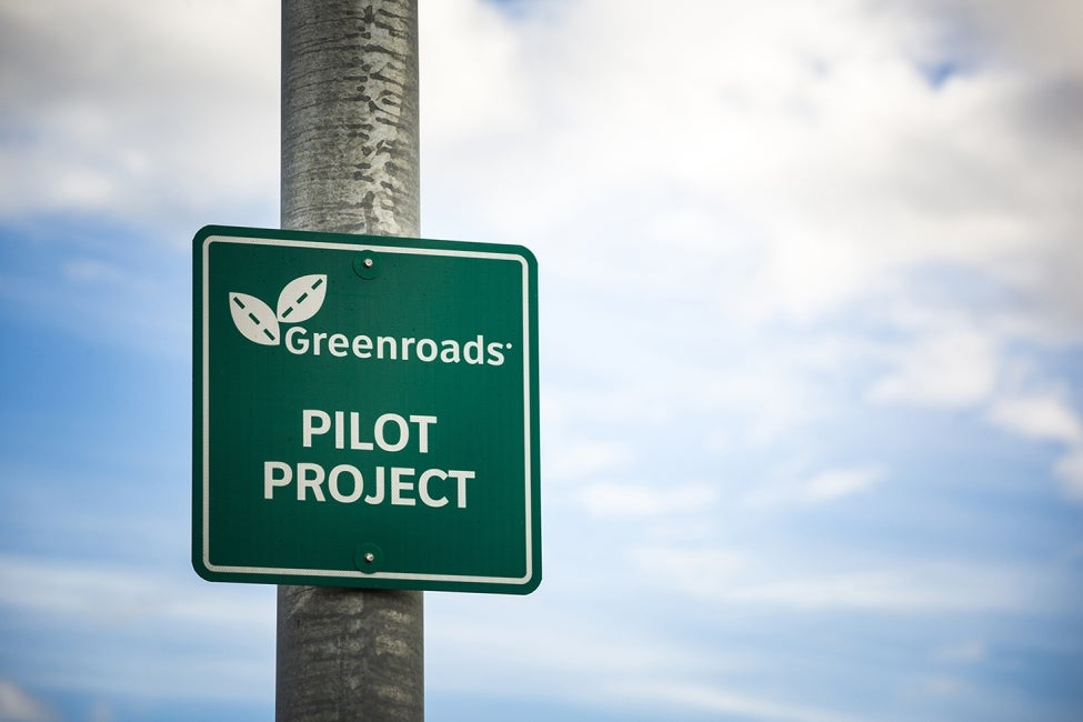 Greenroads Pilot Project sign