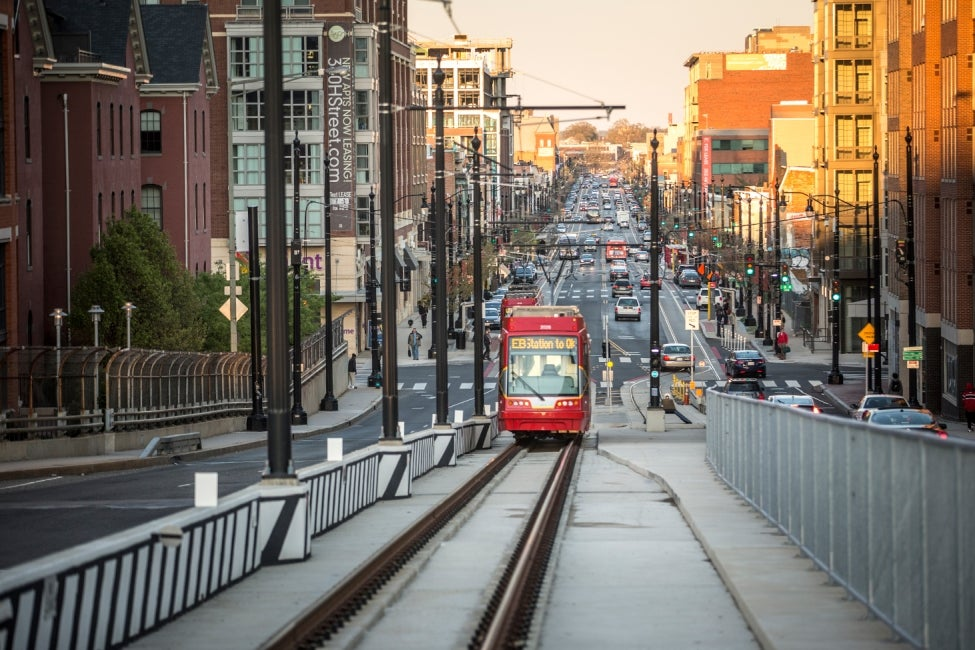 DC Streetcar climbing uphill in the morning