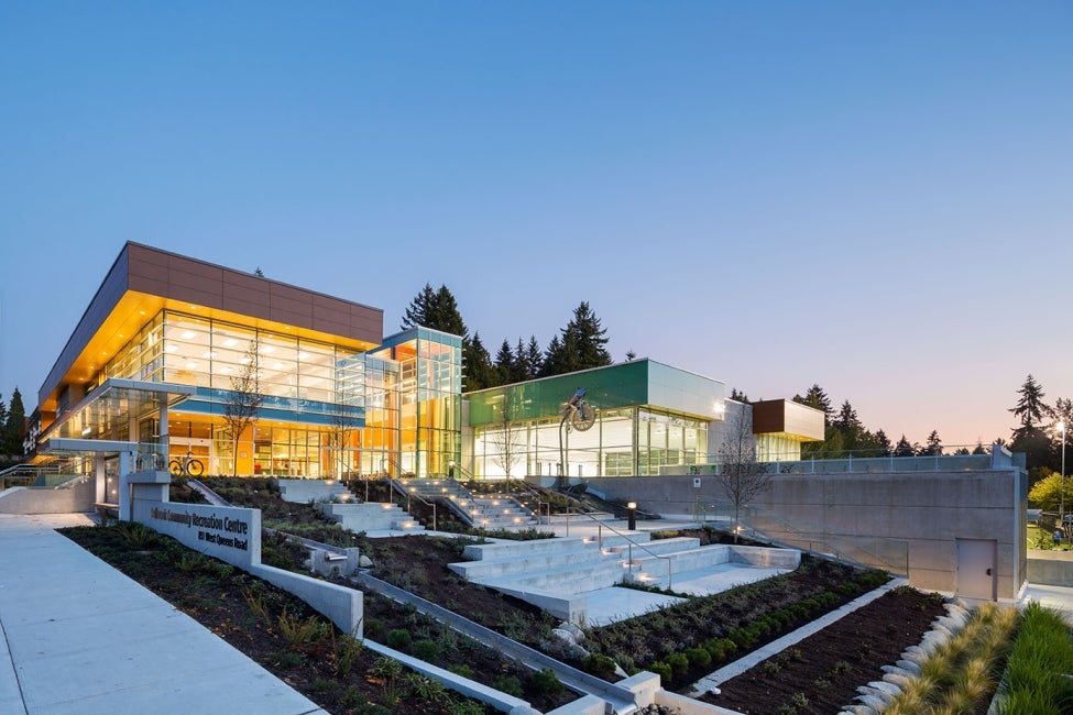 Delbrook Community Recreation Centre Exterior Nighttime Perspective