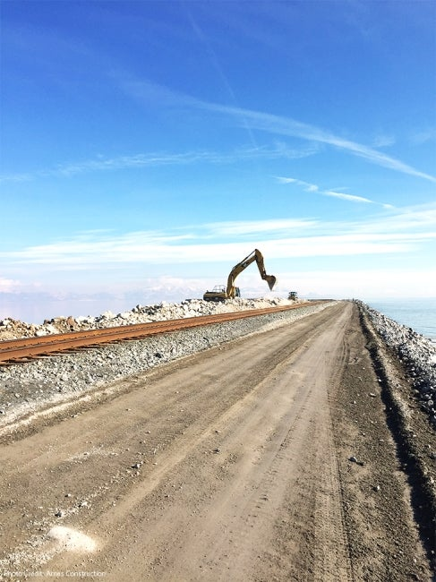 Great Salt Lake Causeway Construction