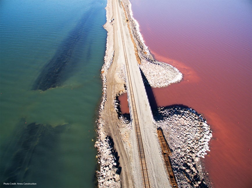 Great Salt Lake Causeway Bisecting North and South