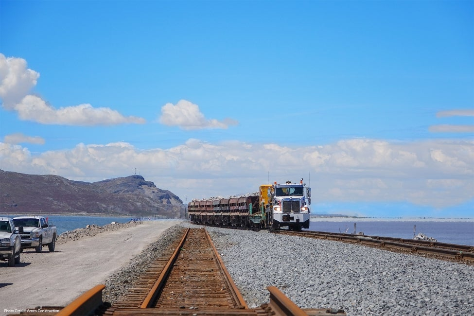 Great Salt Lake Causeway Work Train