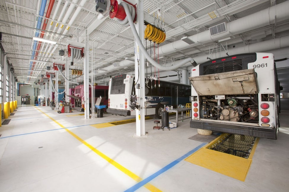 "Interior of Emil ""Lucky"" Reznik Bus Operations Center in South Bend, Ind."