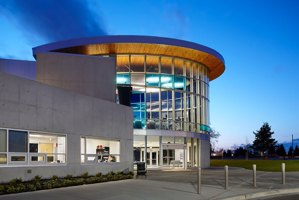 Cloverdale Recreation Centre exterior dusk entry