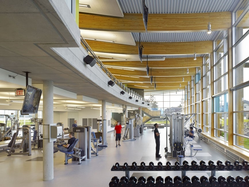 Cloverdale Recreation Centre interior weight room view