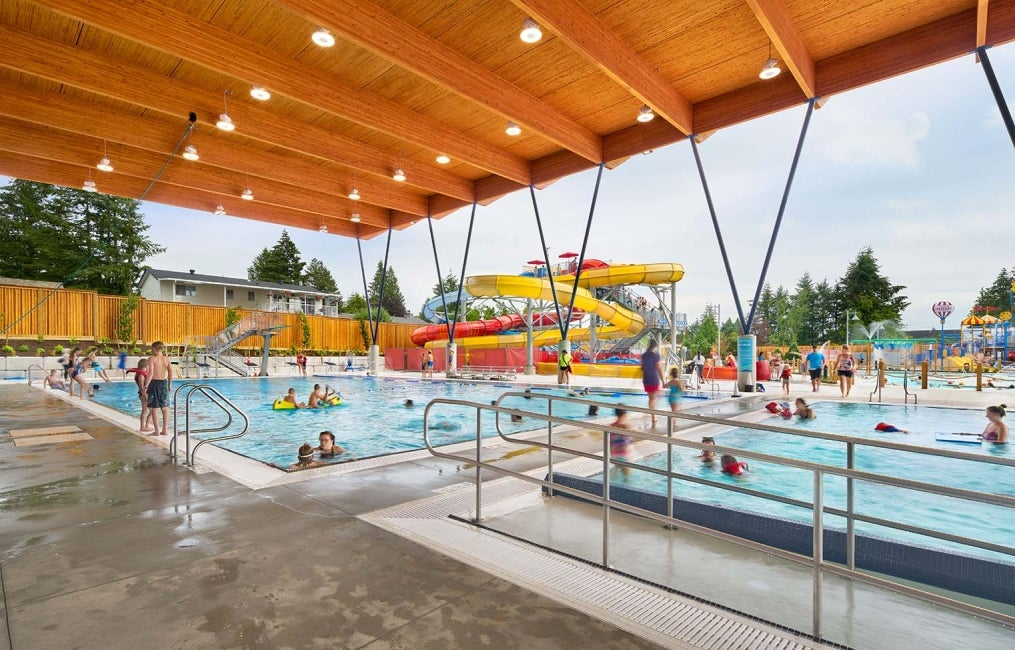 Aldergrove Credit Union Community Center outdoor covered pool HDR
