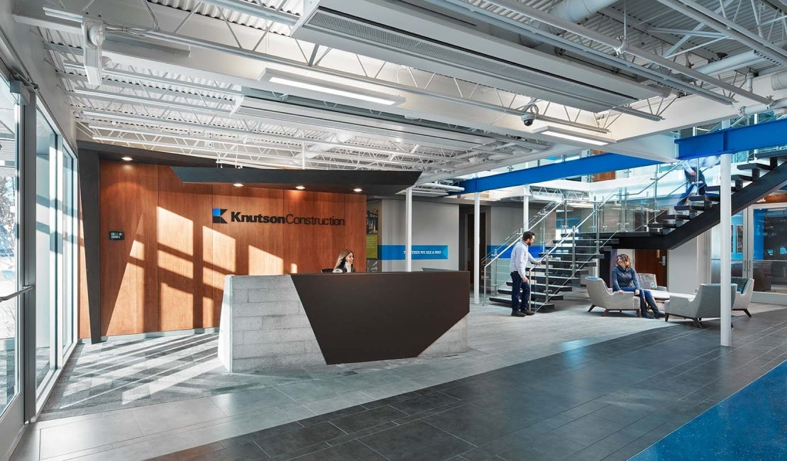Knutson Construction Headquarters interior reception HDR