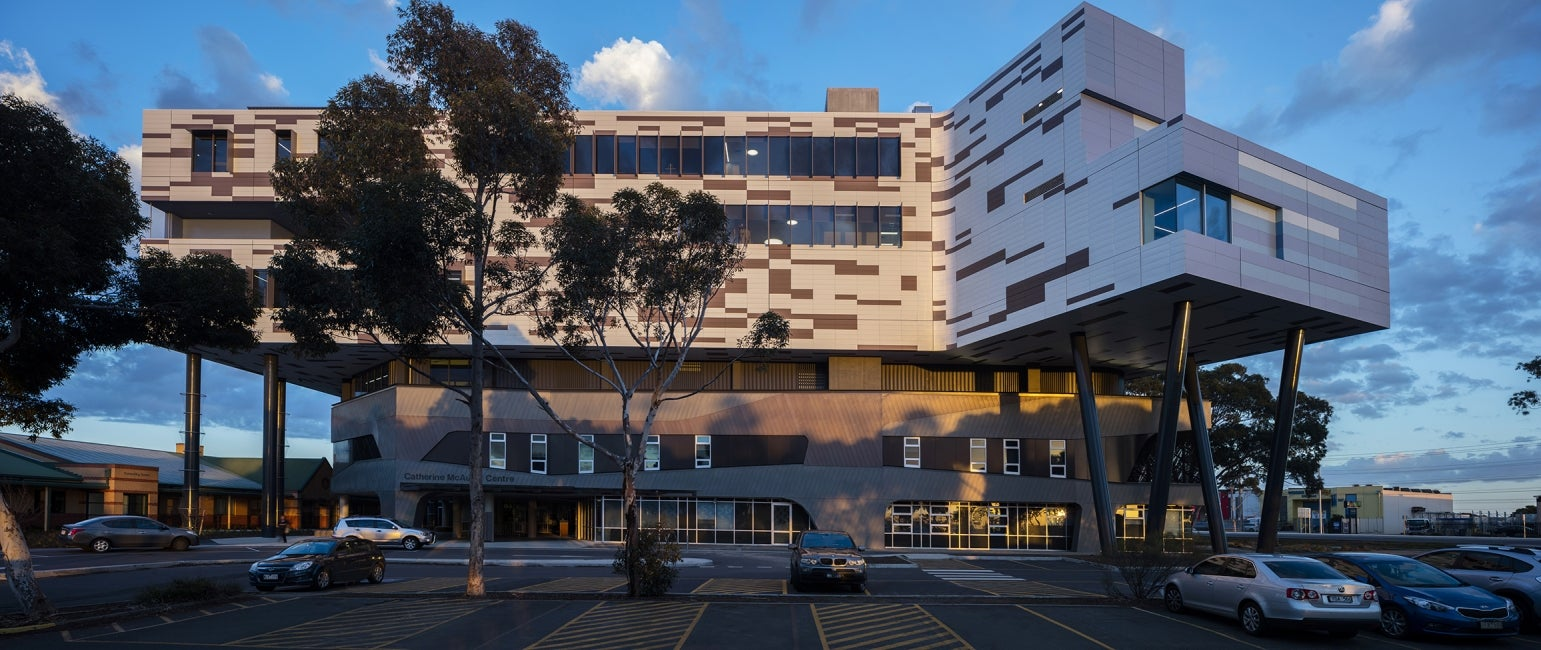 Werribee Mercy Hospital elevation dusk