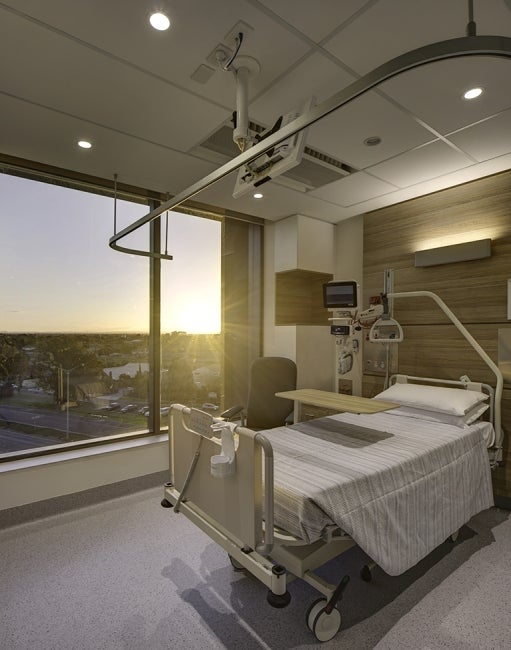 Werribee Mercy Hospital room with view of a sunrise