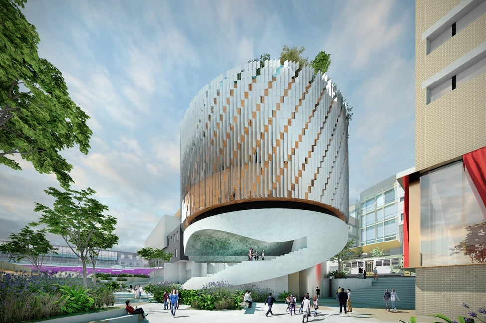 University of Melbourne Student Precinct exterior curved building