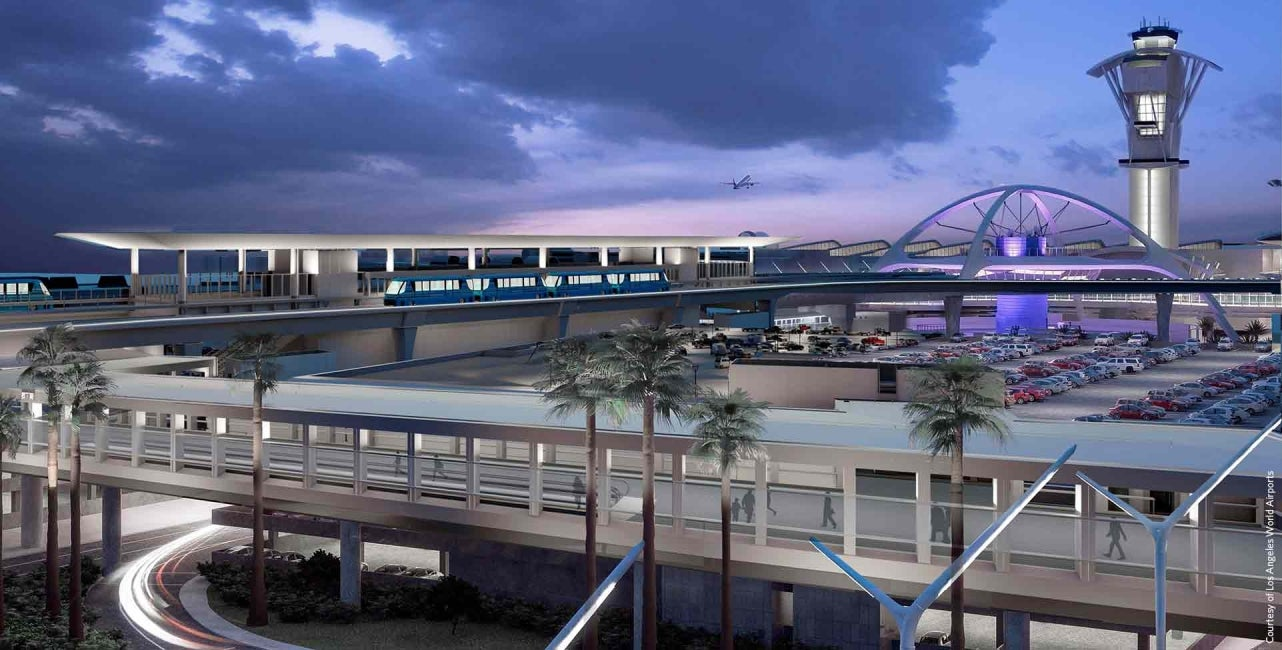 lax automated people mover guideway night