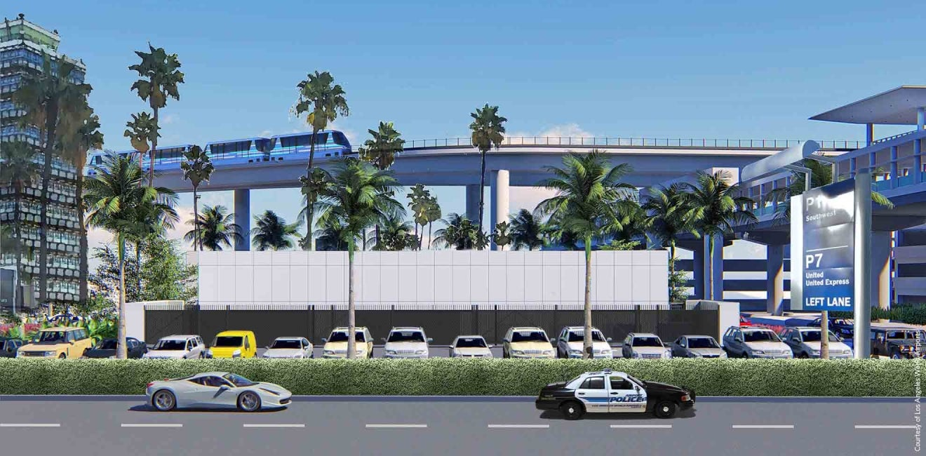 lax automated people mover guideway road