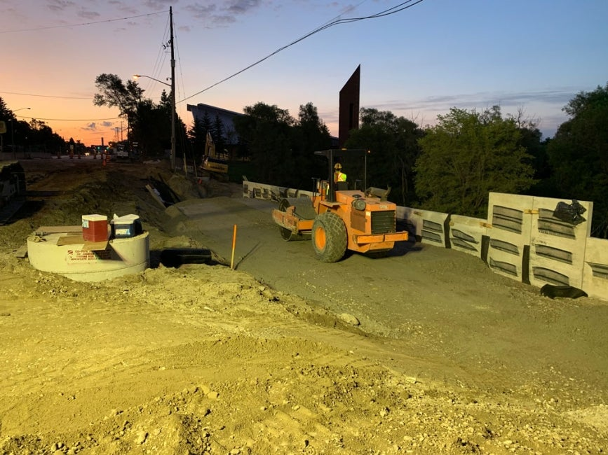 Major Mackenzie Drive Culvert Replacement Construction at night