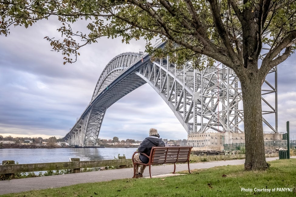 bayonne bridge park bench