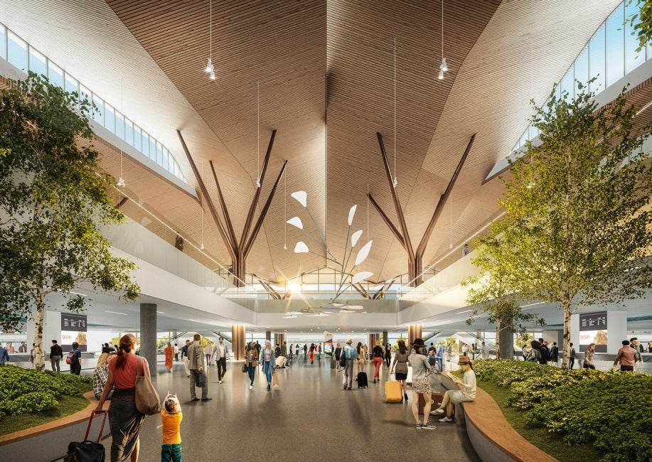 Pittsburgh airport modernization arrivals hall