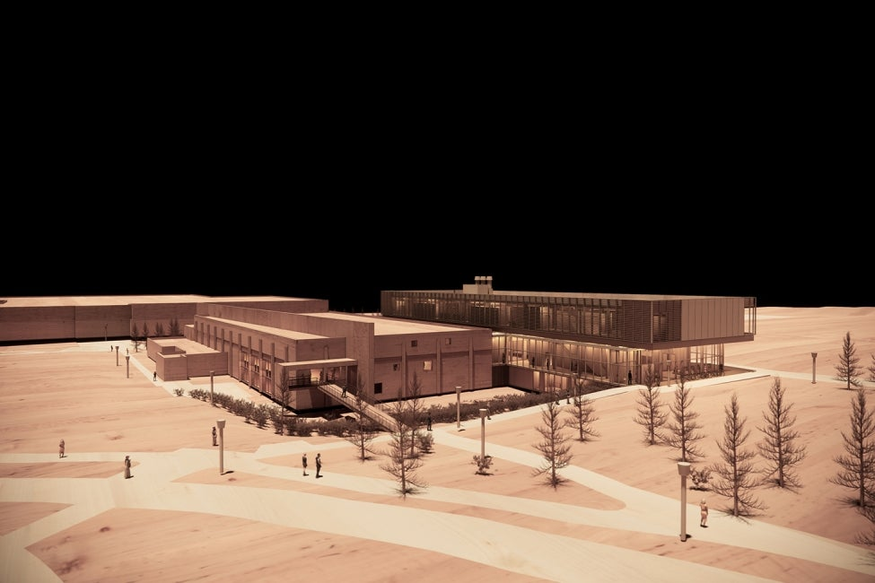 York University Neuroscience Lab Research Building Wood Rendering