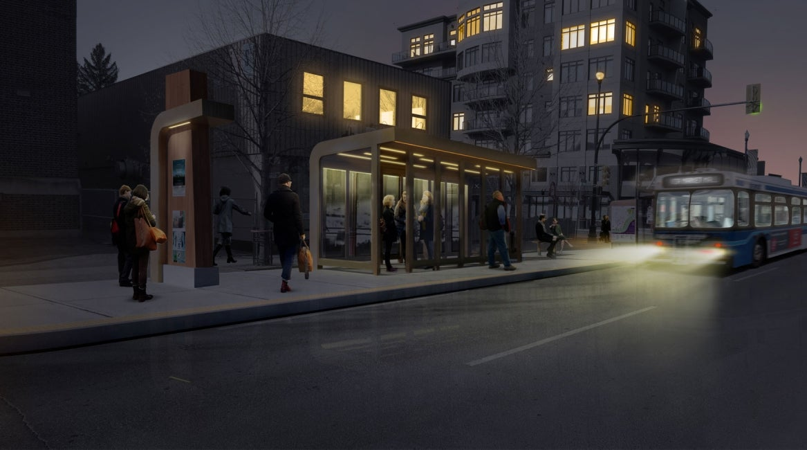 Broadway Avenue 9th Street Bus Shelter Night View