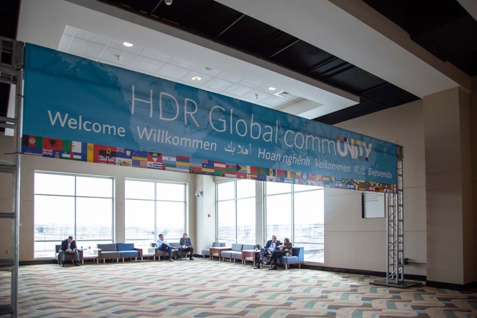 HDR water conference welcome sign in numerous languages