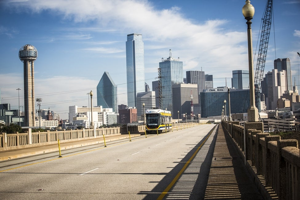 Dallas Streetcar crosses Houston Street Viaduct.