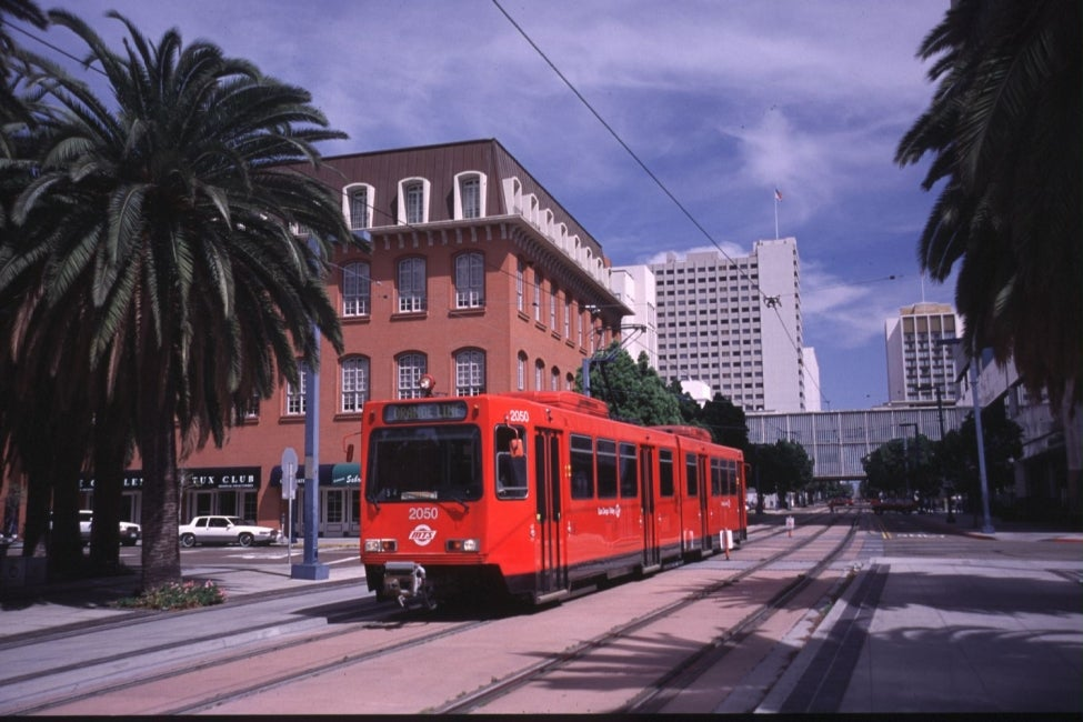"San Diego's Orange Line is one of three existing, urban  ""Trolley"" lines that wi"