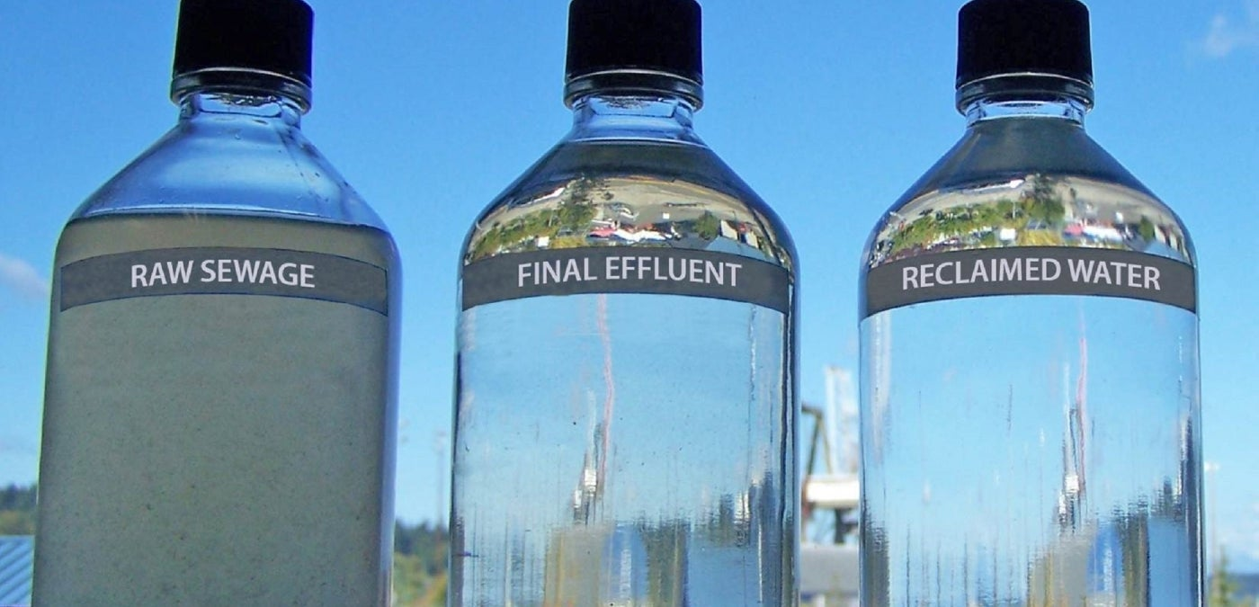Bottles containing raw sewage, final effluent, and reclaimed water