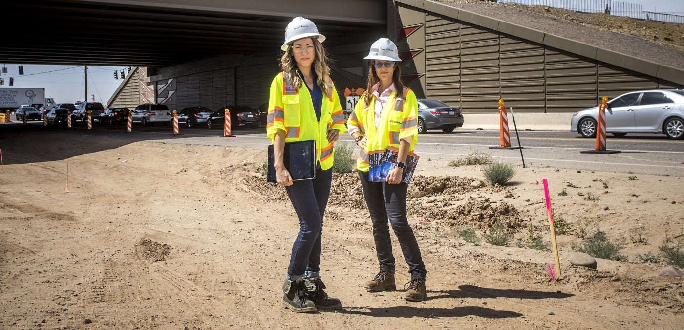 Women working on the South Mountain Freeway