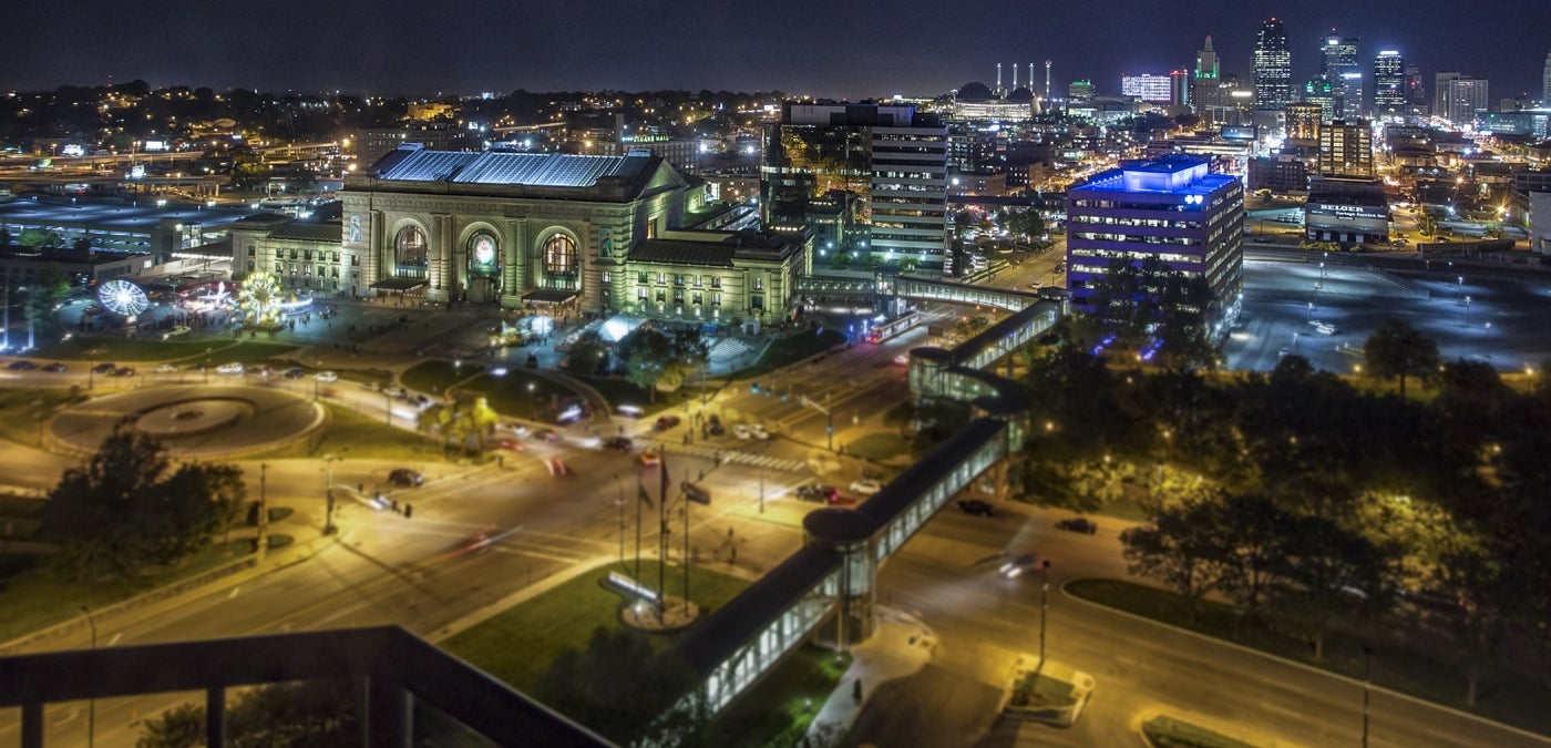 Kansas City at night aerial