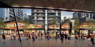Artist's impression of exterior view from station at Ed Park