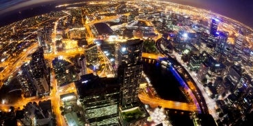 night aerial city view