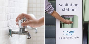 bath water faucet | hand sanitizer