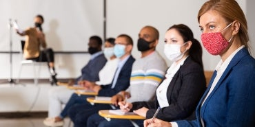 Public Meeting Attendees in face masks